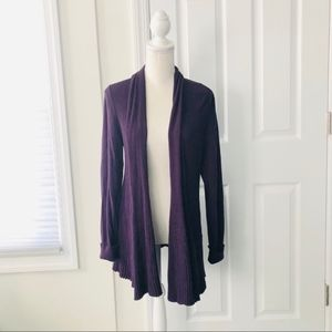 Lafayette148 Purple Ribbed Open Soft Lapel Sweater